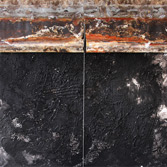 CUANDO LA LUNA DIBUJA EL PAISAJE. Mixt on canvas and metal. 150x150cm. 2009